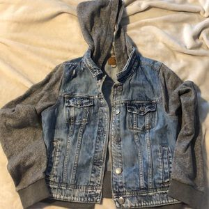 American eagle hooded jean jacket